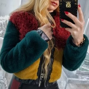 GLAM DOLLZ ColorBlock Faux Fur Coat Hottest!